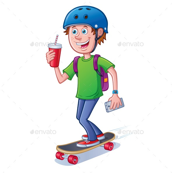 Teen Skateboarder with Backpack - Sports/Activity Conceptual