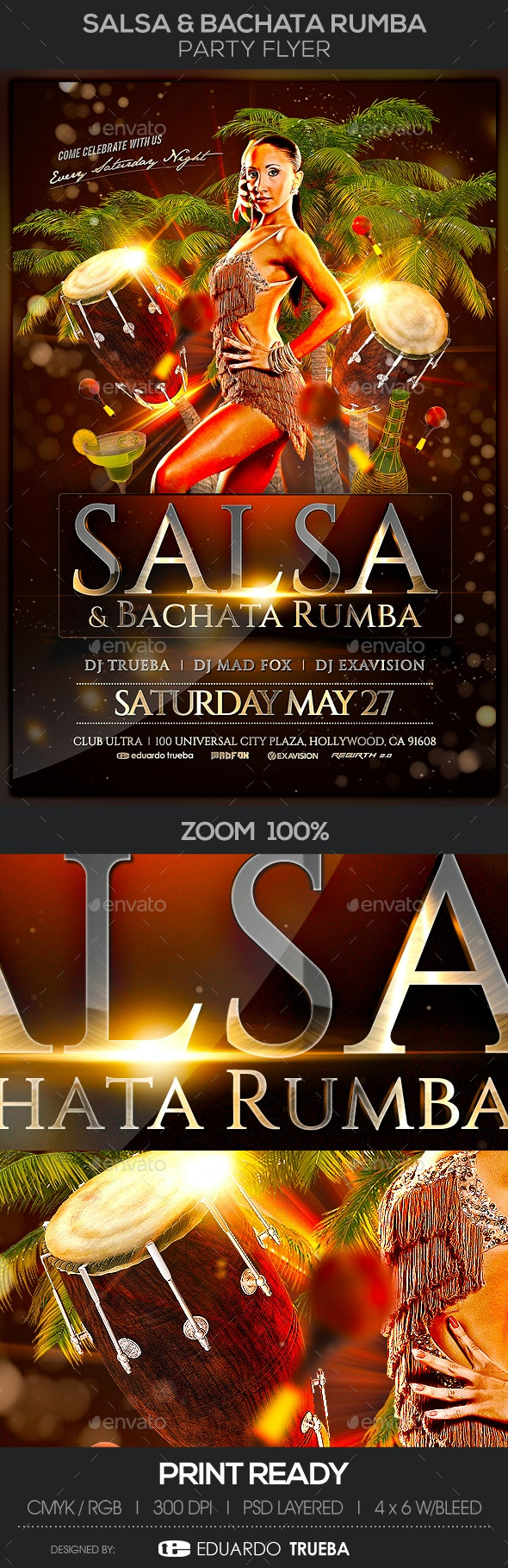Salsa & Bachata Rumba Party Flyer - Events Flyers