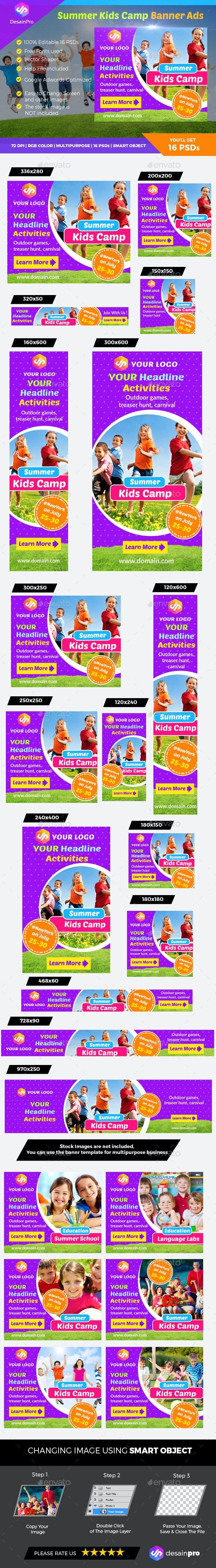 Summer Kids Camp Banner - Banners & Ads Web Elements
