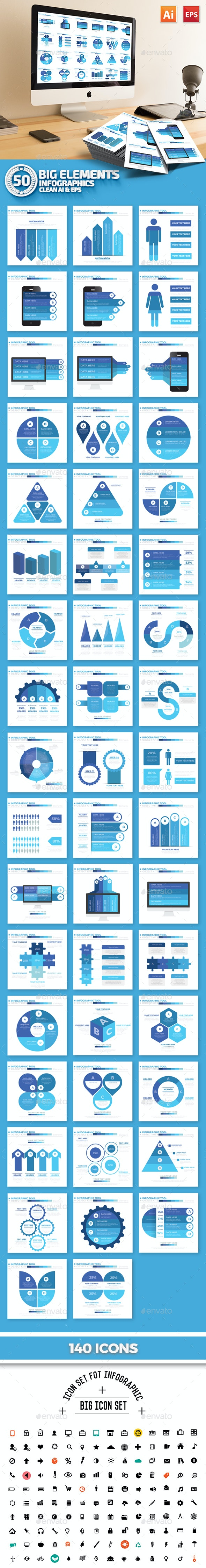 50 Blue Infographics Design - Infographics