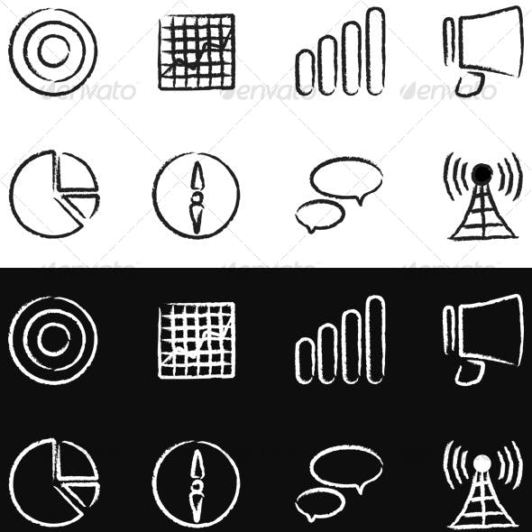 8 Urban Hand-Painted Marketing Icons Black & White