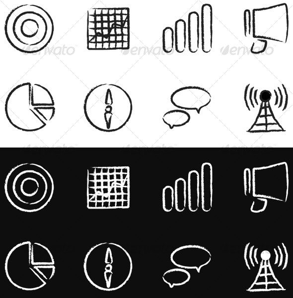 8 Urban Hand-Painted Marketing Icons Black & White - Business Icons