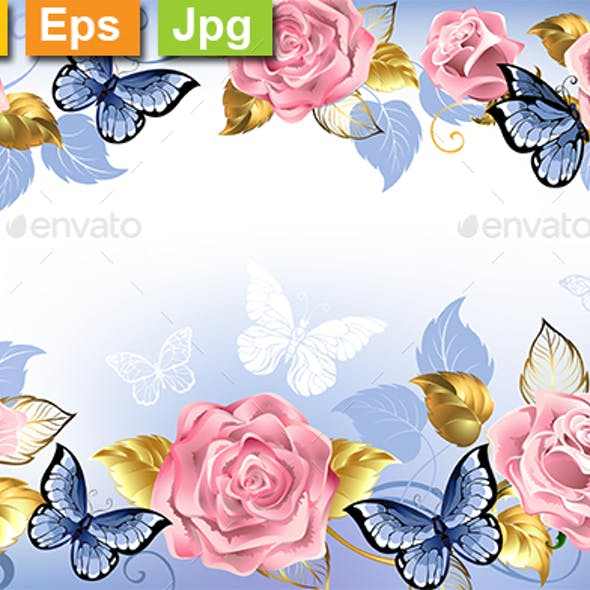 Background with Pink Roses