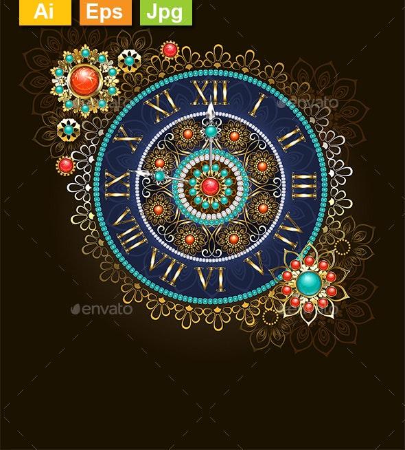 Clock with Beads - Decorative Symbols Decorative