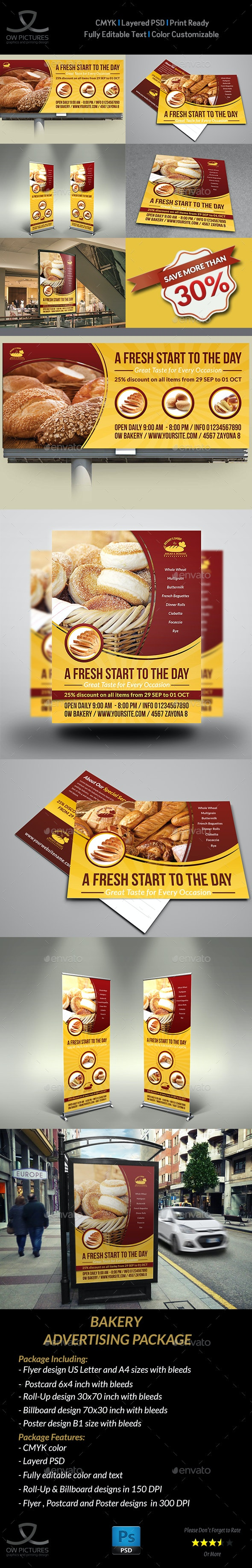 Bakery Advertising Bundle Vol.2 - Signage Print Templates