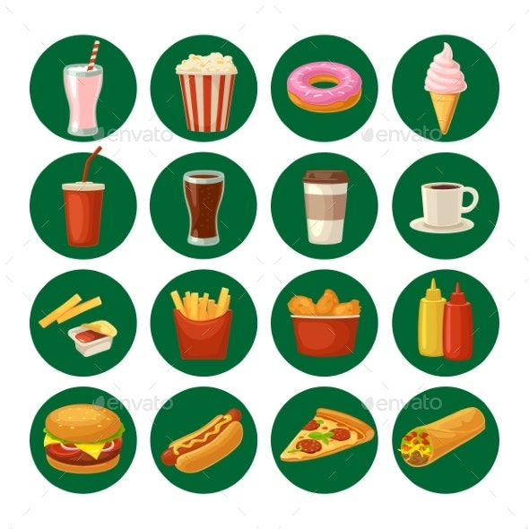 Set Fast Food Icon. Cup Cola, Hamburger, Pizza - Food Objects