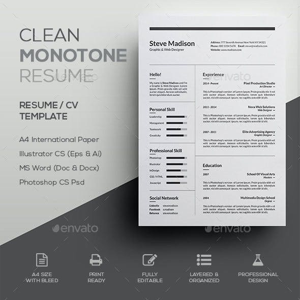Clean Monotone Resume / CV Template
