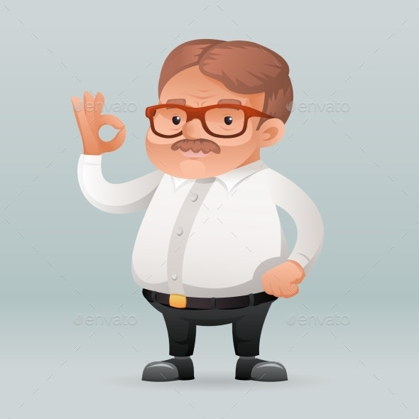 Adult Businessman Worker Ok Hand Sign - People Characters