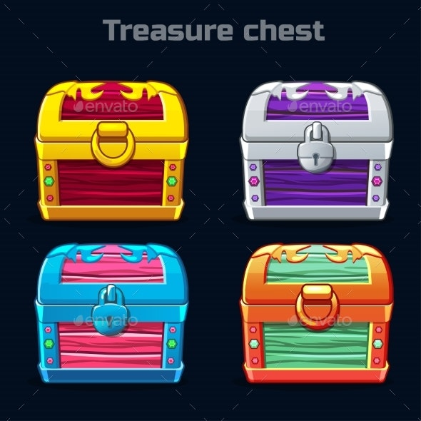 Cartoon Antique Treasure Chest in Different Colors - Man-made Objects Objects