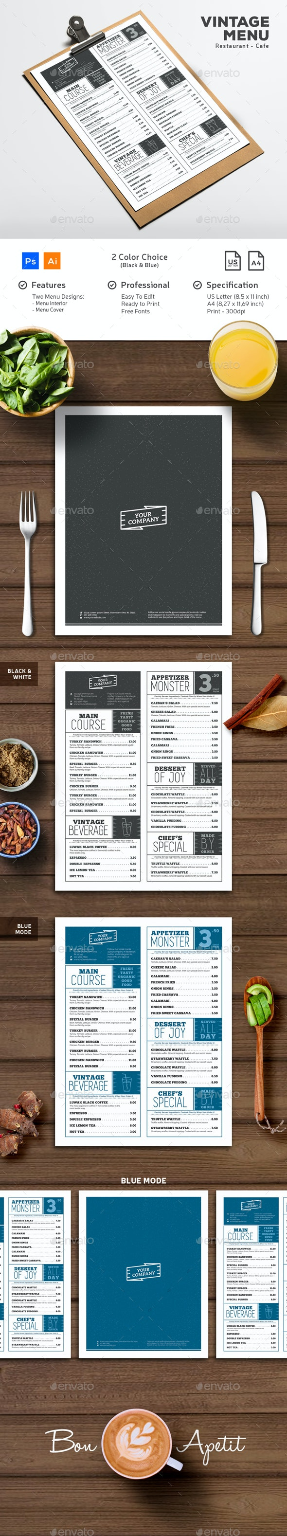Vintage Typography Menu - Food Menus Print Templates