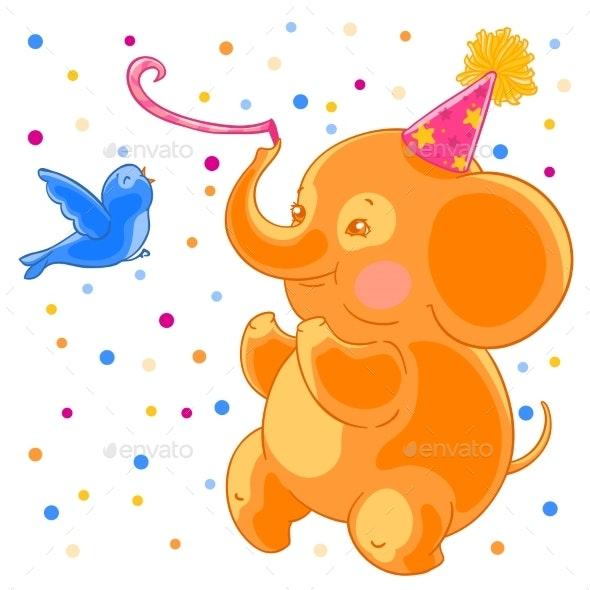 Festive Joyful Elephant and a Bird - Animals Characters