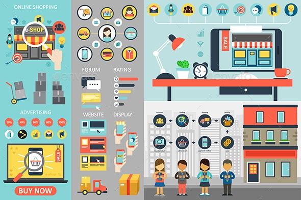 Online Shopping Infographic Elements - Web Elements Vectors