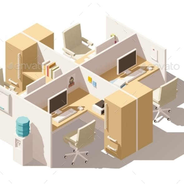Isometric Low Poly Office Cubicle