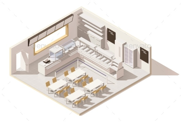 Vector Isometric Low Poly Self Service Restaurant - Buildings Objects