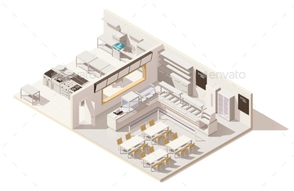 Vector Isometric Low Poly Restaurant with Kitchen - Buildings Objects