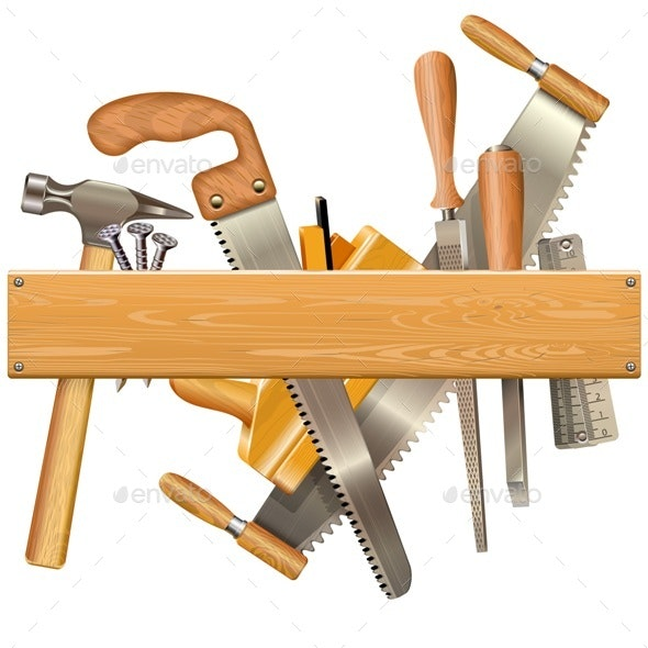 Vector Wooden Plank with Retro Tools - Industries Business