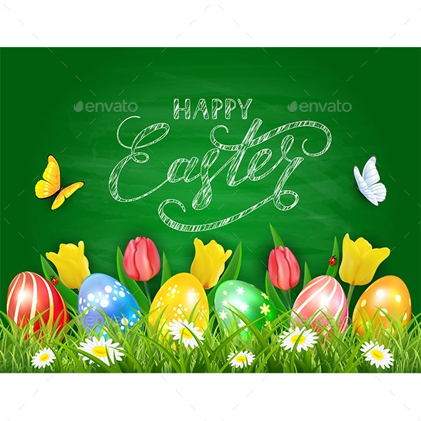 Easter Eggs and Tulips on Green Chalkboard Background - Miscellaneous Seasons/Holidays