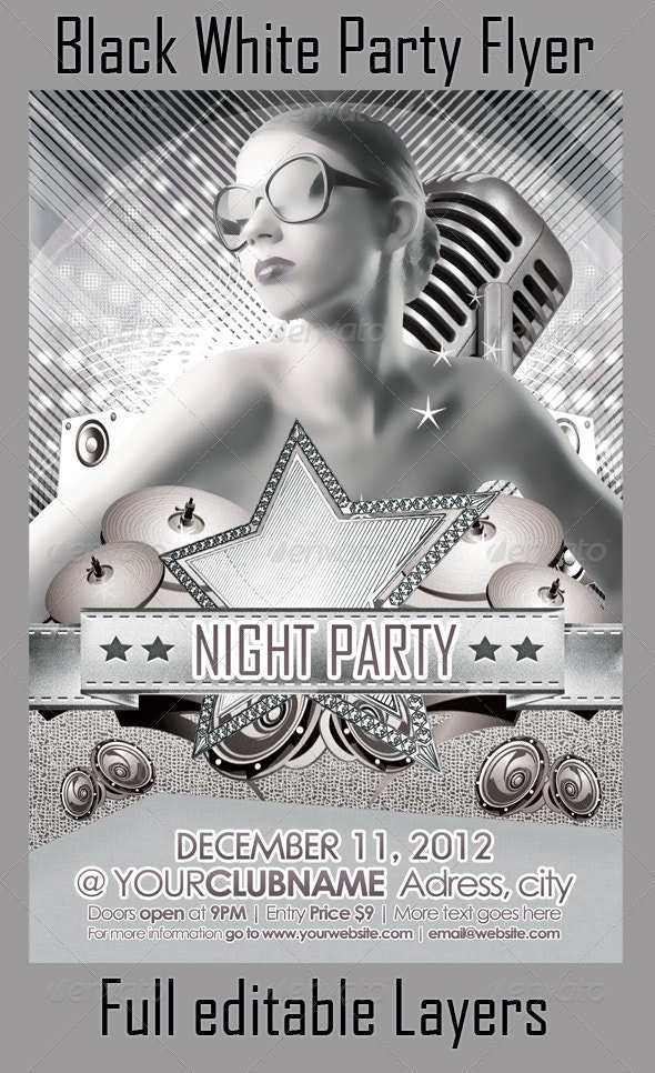 Black White Party Flyer - Flyers Print Templates