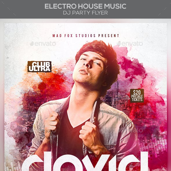 Electro House Music Dj Party Flyer
