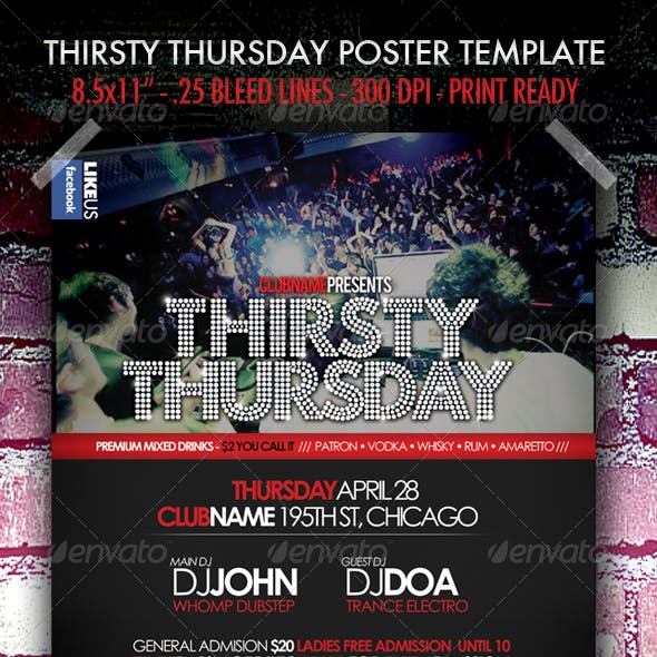 Thirsty Thursday Club Poster/Flyer Template