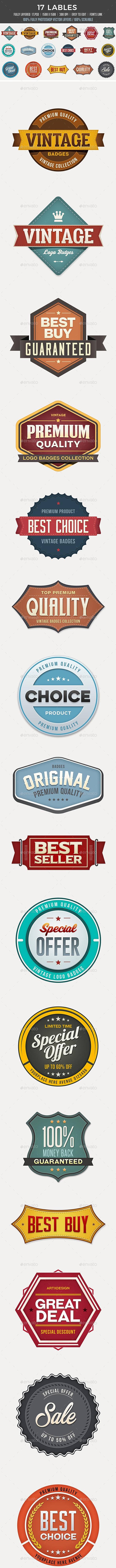 17 Badges - Badges & Stickers Web Elements