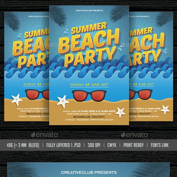 Beach Party /Summer Pool Party Flyer