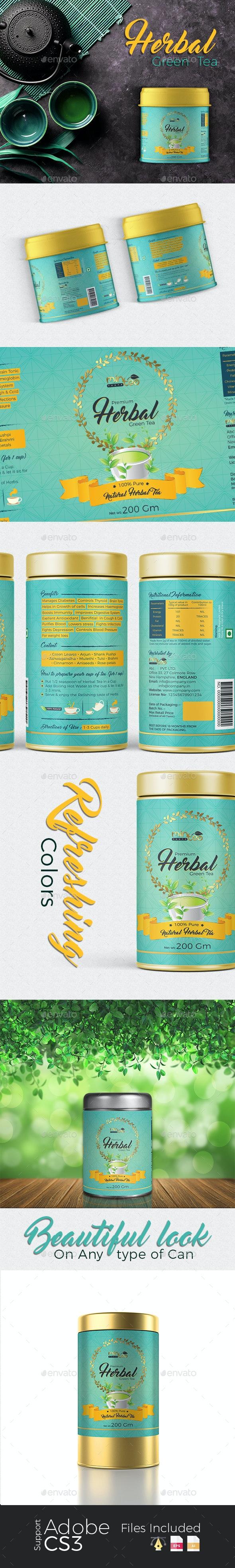 Herbal Green Tea Label - Packaging Print Templates