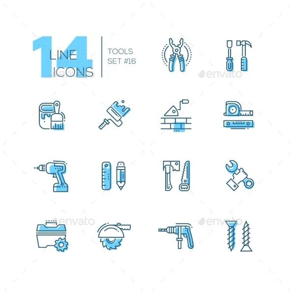 Tools - Coloured Modern Single Line Icons Set - Web Technology