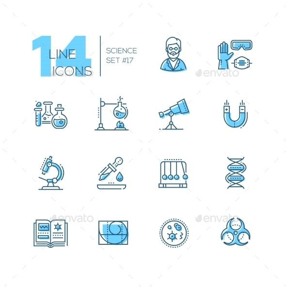 Science - Coloured Modern Single Line Icons Set - Web Technology