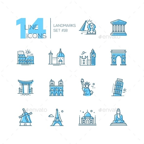 Landmarks - Coloured Modern Single Line Icons Set