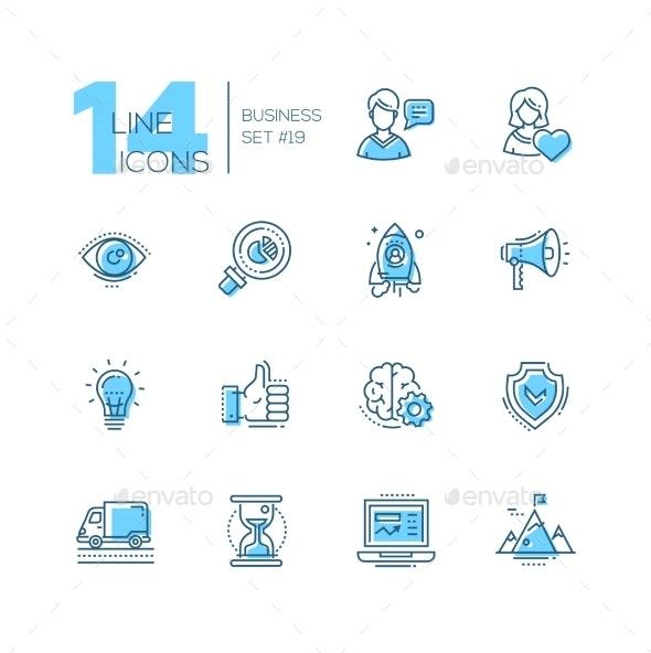 Business - Coloured Modern Single Line Icons Set - Web Technology