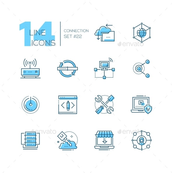Connection - Coloured Modern Single Line Icons Set - Computers Technology