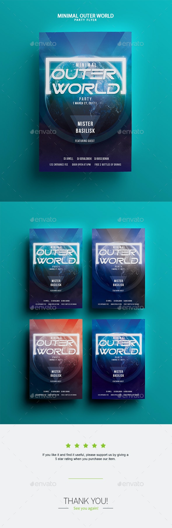 Outer World Party Flyer Template - Clubs & Parties Events