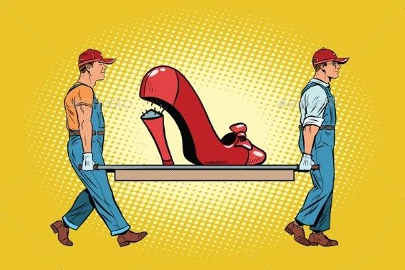 Womens Shoes the Heel Broke - People Characters