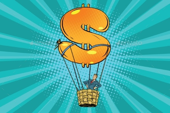 Businessman in a Hot Air Balloon Dollar - Concepts Business
