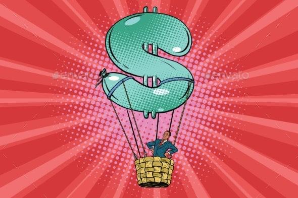 Businessman in a Hot Air Balloon Dollar - Concepts Business