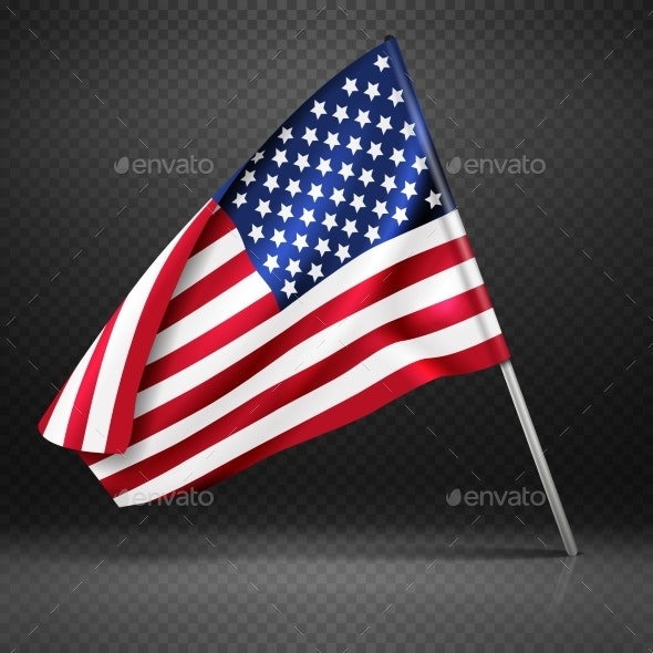 American Banner Wavy Flying Flag - Man-made Objects Objects