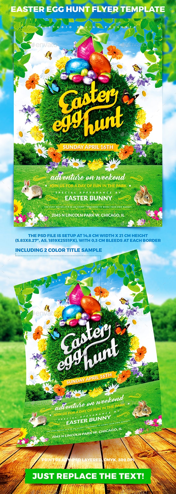 Easter Egg Hunt Flyer Template vol.2 - Holidays Events