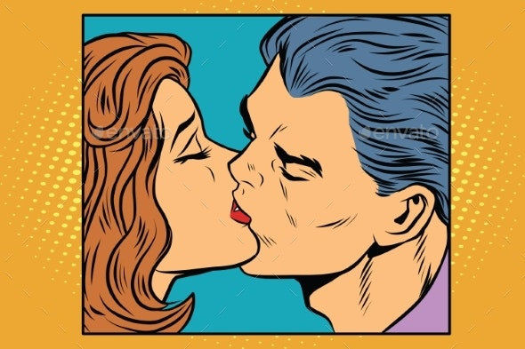 Poster Man and Woman Kissing - People Characters