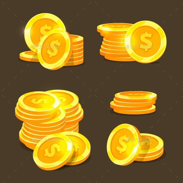Gold Coins Vector Icons