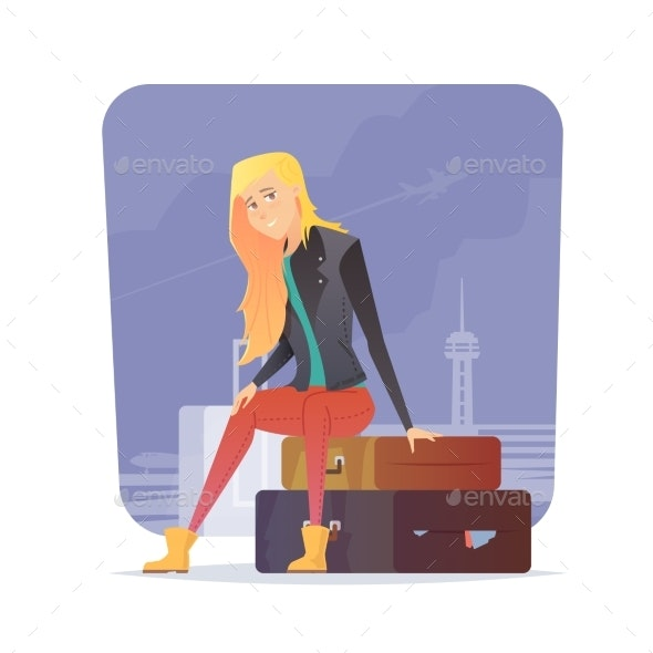 Woman Sitting at Airport - Travel Conceptual