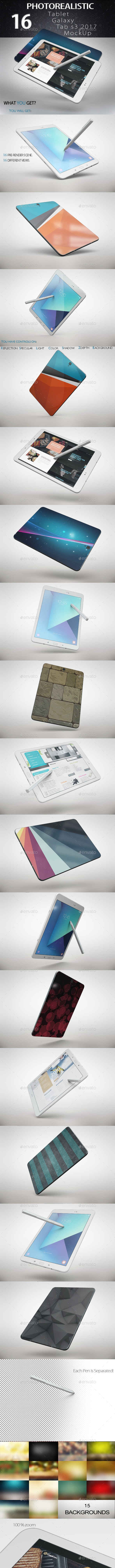 Tablet Galaxy Tab s3 2017 App & Skin MockUp Vol.2 - Product Mock-Ups Graphics
