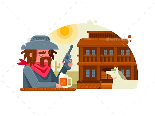 Cowboy with Revolver Drinks Beer in Pub - People Characters