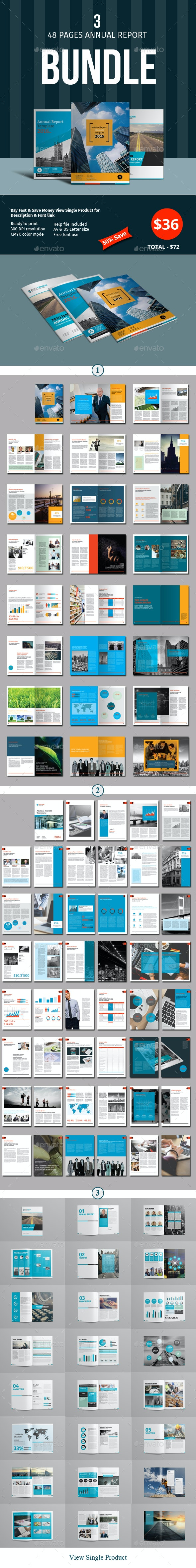 48 Pages Annual Report Template Bundle - 1 - Corporate Brochures