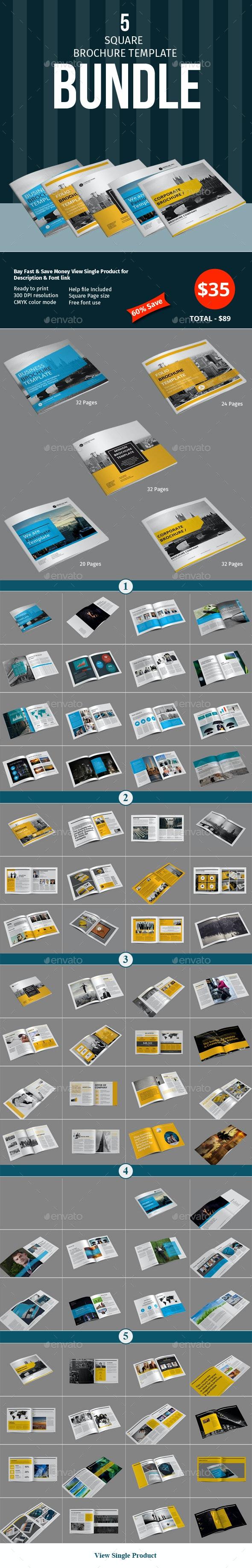 Square Brochure Template Bundle - Corporate Brochures
