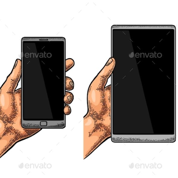 Male Hand Holding a Modern Mobile Phone