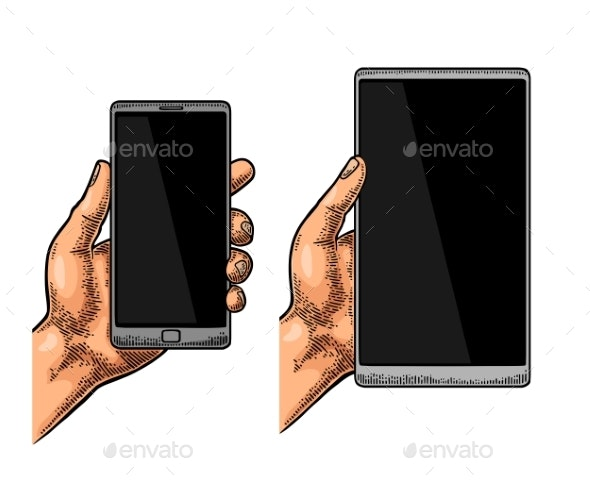 Male Hand Holding a Modern Mobile Phone - Communications Technology