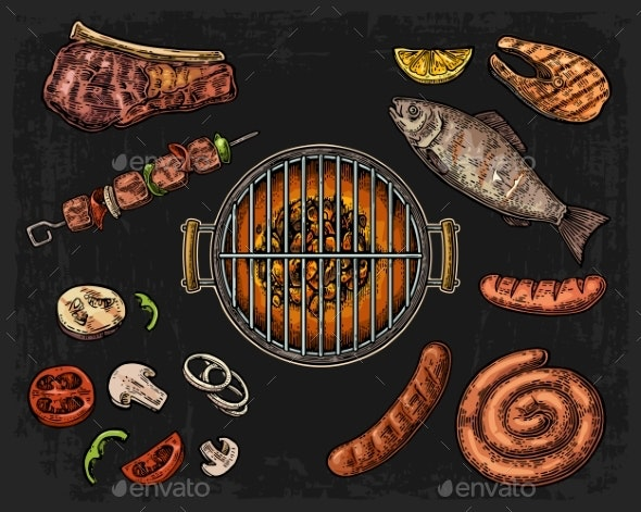Barbecue Grill Top View with Charcoal - Food Objects