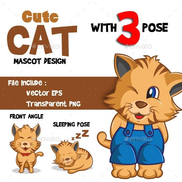 Cat Mascot Design - Animals Characters