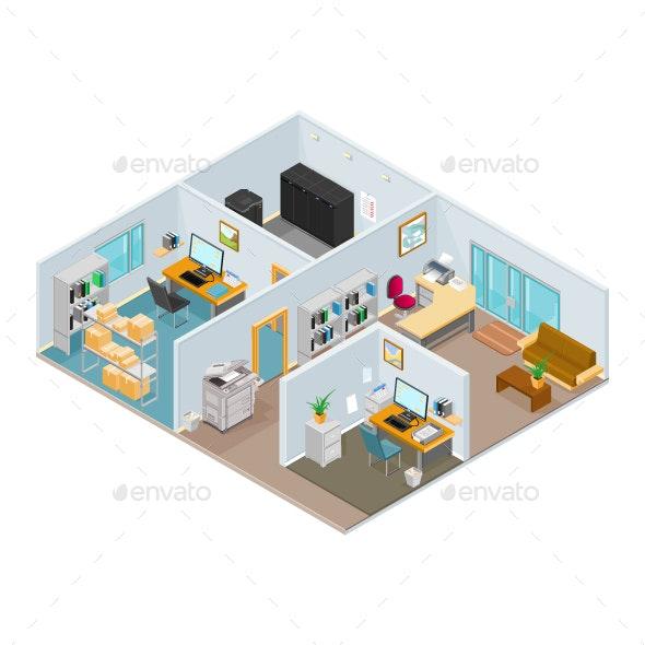 Isometric Open Plan Office - Buildings Objects